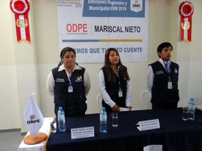 Instalan oficina de la ODPE en Mariscal Nieto