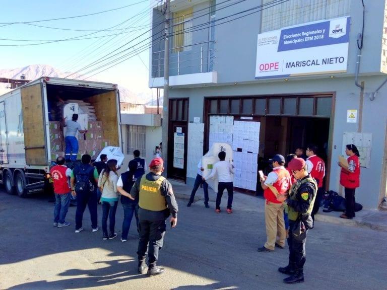ODPE Mariscal Nieto recepcionó material electoral para todo el departamento de Moquegua