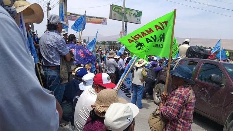 Mayor participación popular en segundo día de paro contra Quellaveco