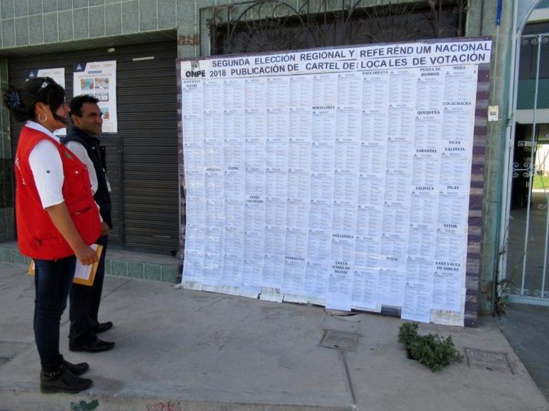 ODPE Arequipa – Islay publica cartel de locales de votación
