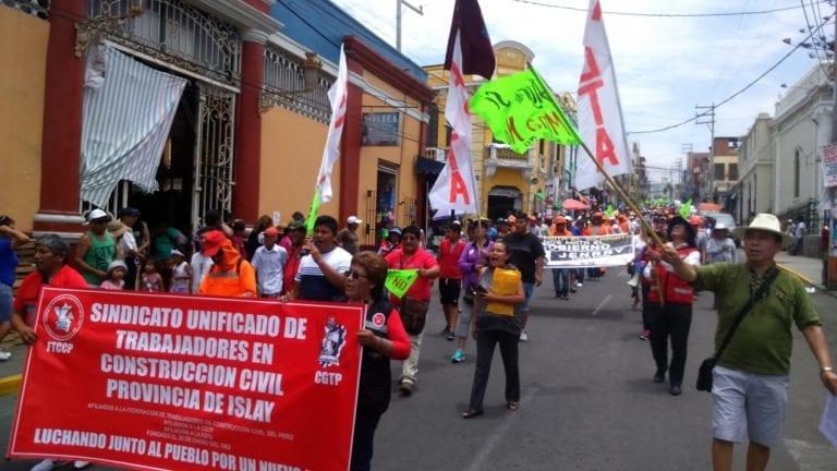 Contundente movilización de Construcción Civil y del Valle de Tambo en rechazo a Tía María