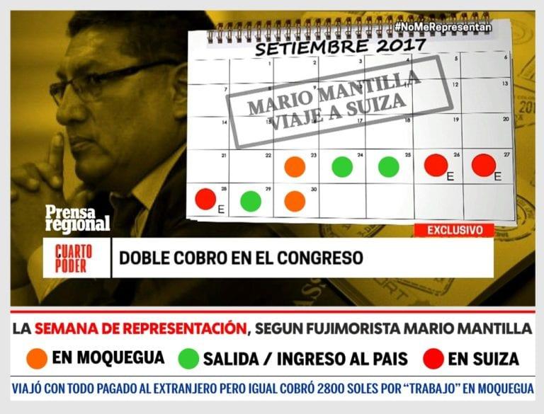 ¿Ambición, falta de escrúpulos…? Congresista Mario Mantilla cobró Semana de Representación pese a estar fuera del país
