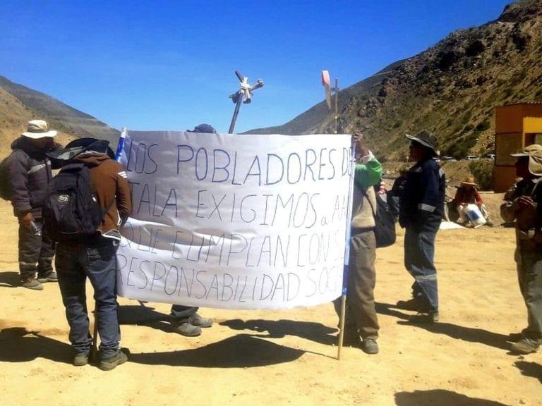Comuneros de Coscore acataron plantón en ingreso a Quellaveco