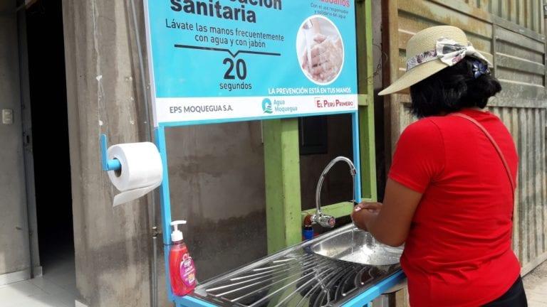 EPS Moquegua instaló cinco lavamanos públicos