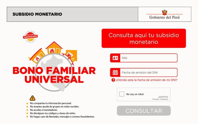 Bono Universal: Plataforma para el pago ya está lista y puedes ingresar desde aquí