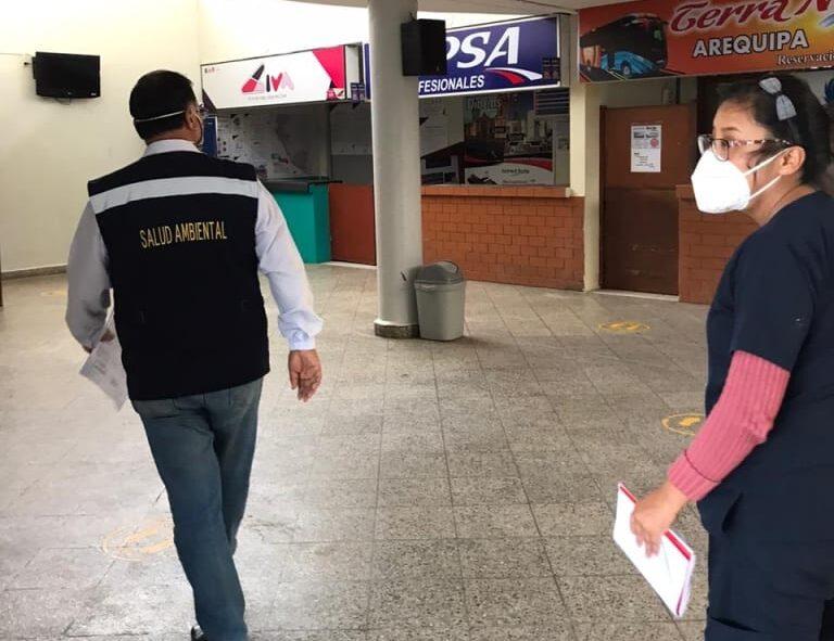 Red de Salud Islay recomienda mejorar señalización en el Terminal Terrestre para prevenir contagios por Covid