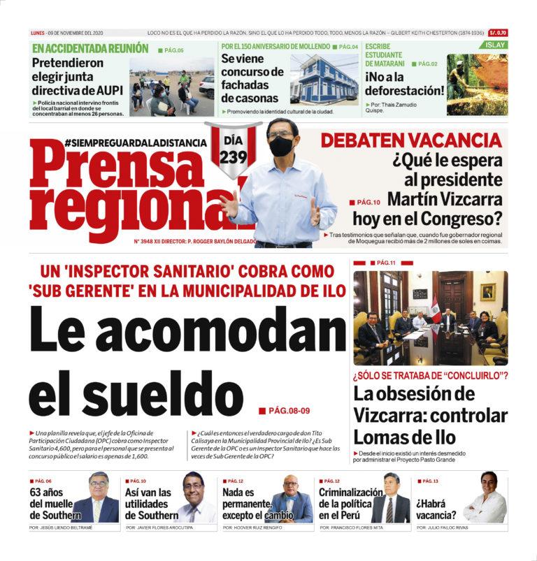 La Prensa Regional – Lunes 9 de noviembre del 2020