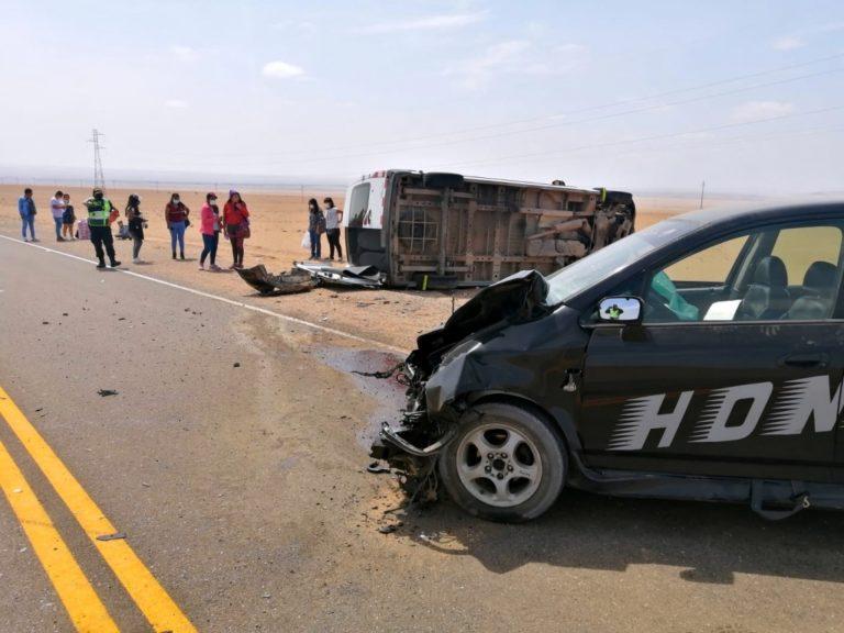 Ocho personas resultan lesionadas tras choque frontal en la ruta Moquegua – Tacna