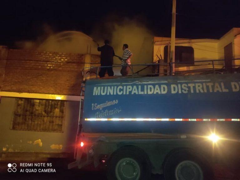 Vivienda se incendia frente a almacenes de fertilizantes