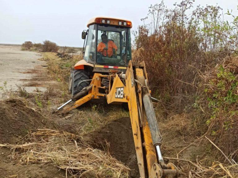Continúa limpieza de drenes y acequia