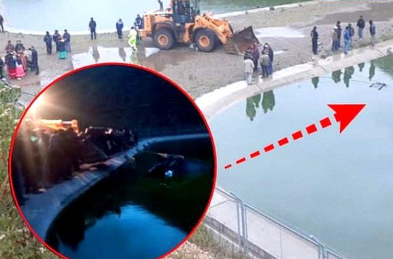 Camioneta cae a pozo de tratamiento y conductor muere ahogado