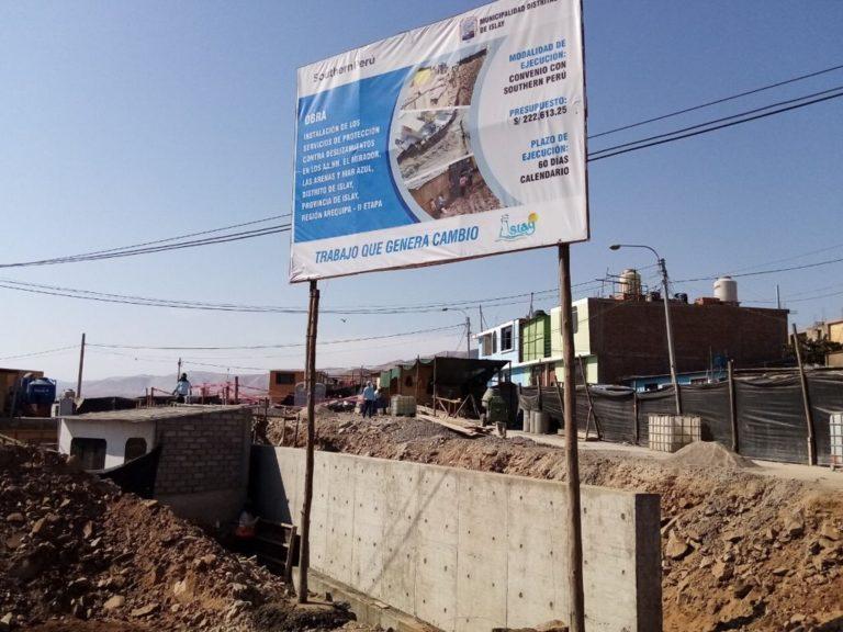 Municipio de Islay-Matarani y Tía María ejecutan convenio para obras contra deslizamientos