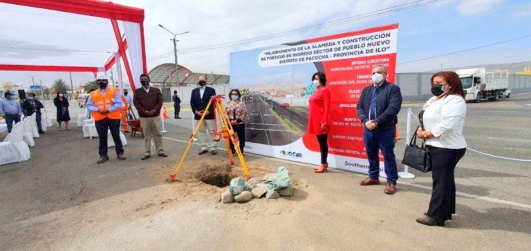 Colocan primera piedra para el mejoramiento del ingreso a Pacocha
