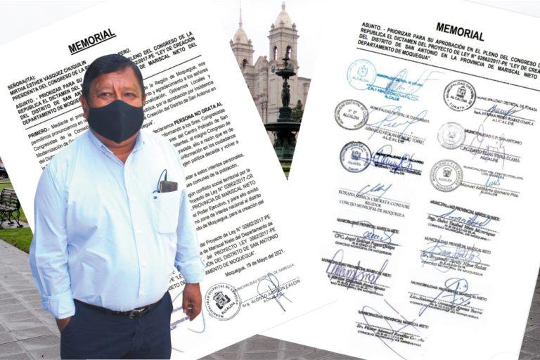 Autoridades de Moquegua piden al Congreso priorizar dictamen de creación del distrito San Antonio y declaran persona no grata a Walter Ascona