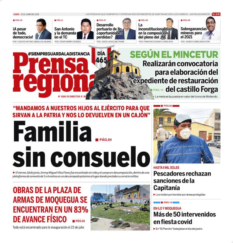 La Prensa Regional – Lunes 21 de Junio del 2021