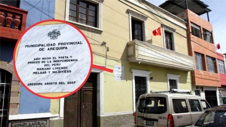 Casa de Mariano Melgar con placa municipal, convertida en cantina