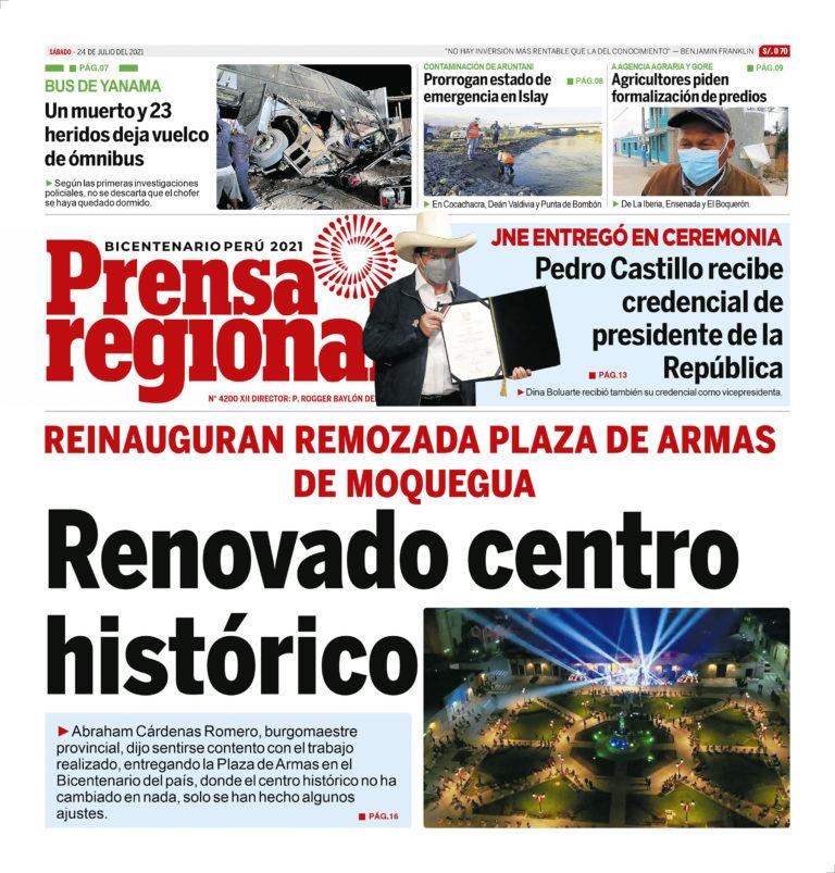 La Prensa Regional – Sábado 24 de Julio del 2021