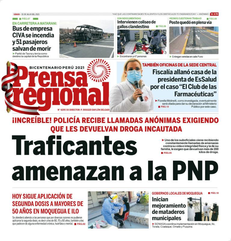 La Prensa Regional – Sábado 31 de Julio del 2021