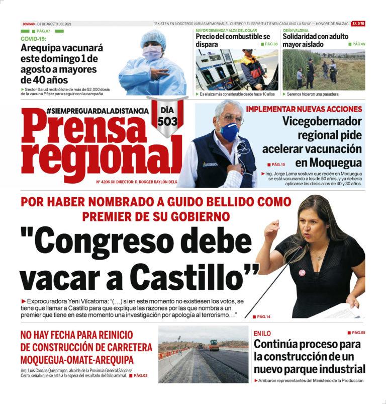 La Prensa Regional – Domingo 01 de Agosto del 2021