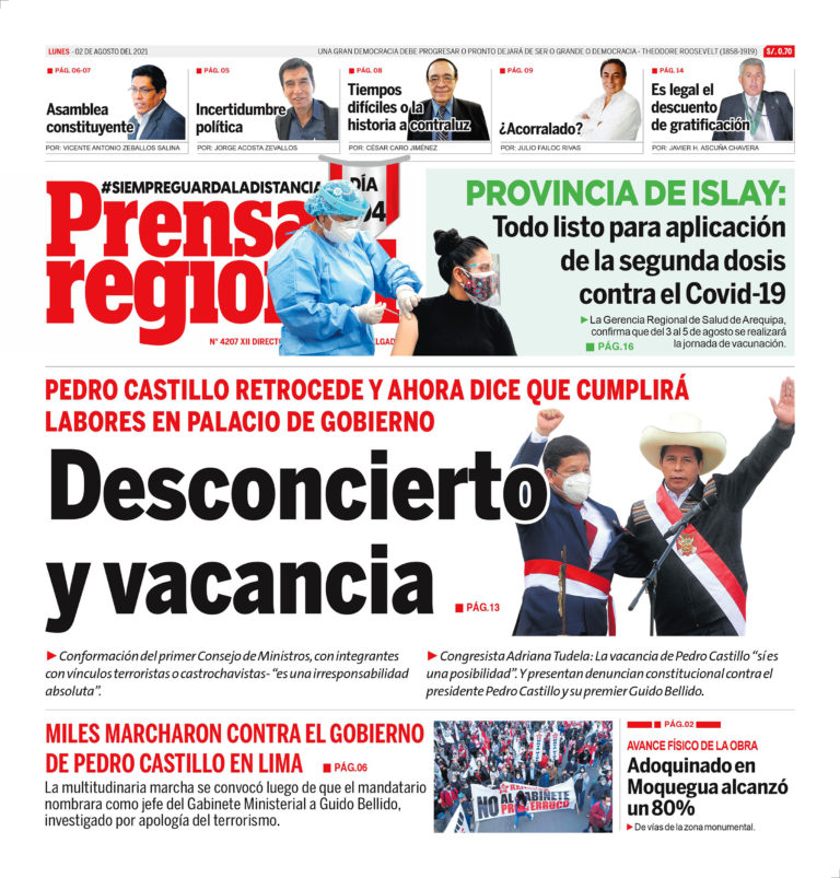 La Prensa Regional – Lunes 02 de Agosto del 2021