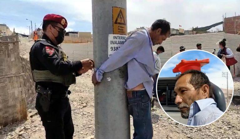 Moquegua: Vecinos atrapan y amarran a poste a sujeto que intentó llevarse a niña