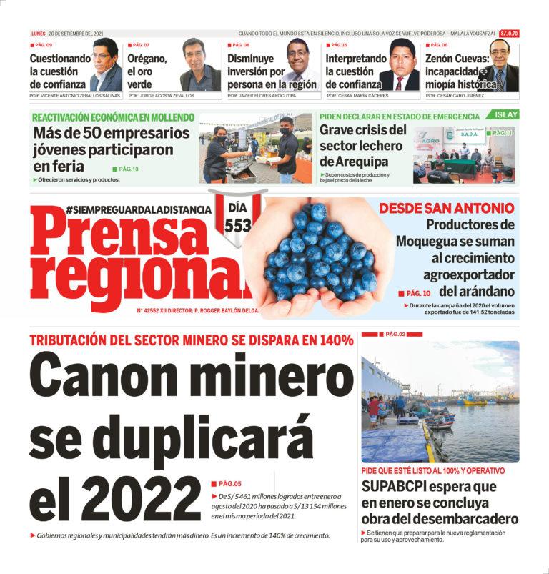 La Prensa Regional – Lunes 20 de Setiembre del 2021
