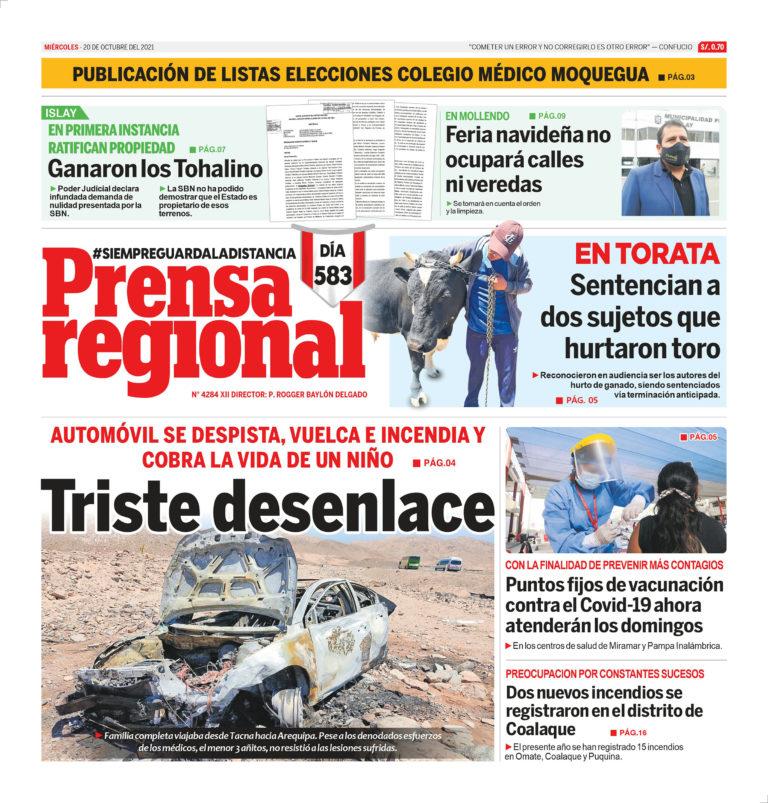 La Prensa Regional – Miércoles 20 de Octubre del 2021