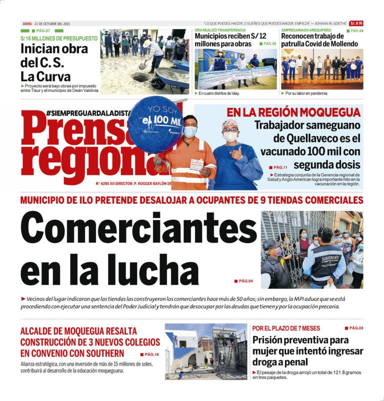 La Prensa Regional – Jueves 21 de Octubre del 2021